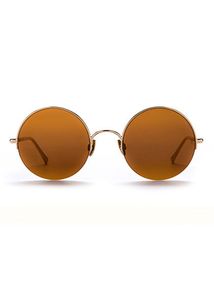 Raine // Polished Yellow Gold Titanium with Glass Bronze Mirror Lens