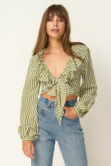 Cadence Ruffle Tie Top // Copperfield Stripe Sage