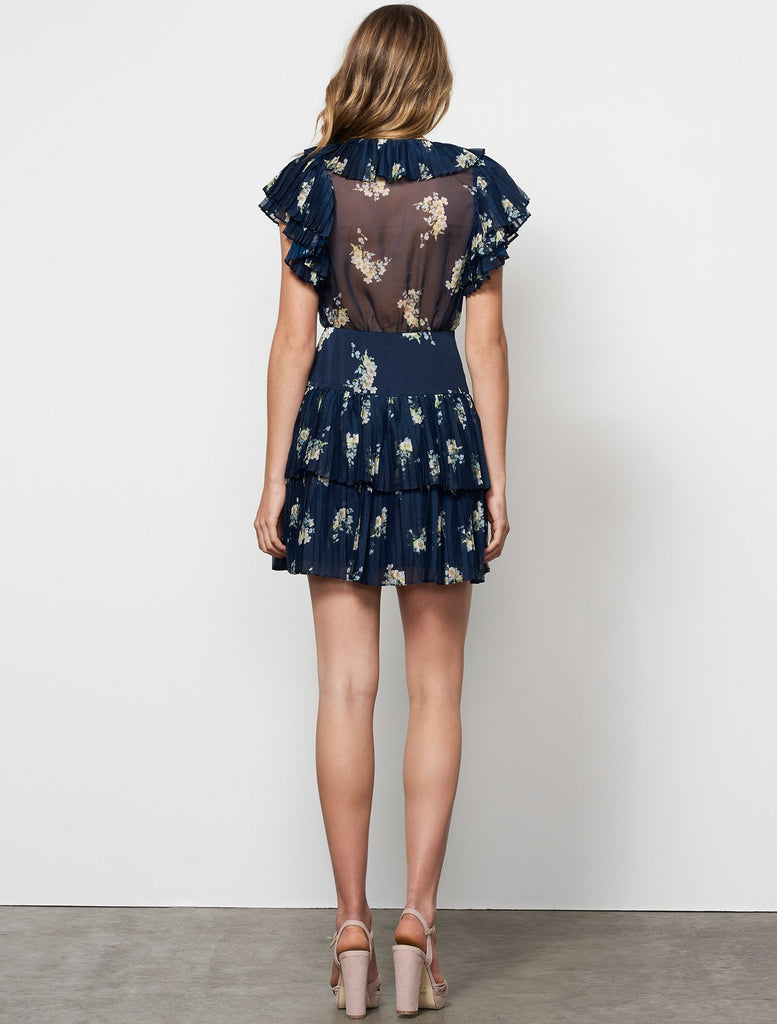 Midnight Blooms Wrap Mini Dress // Navy Floral Print