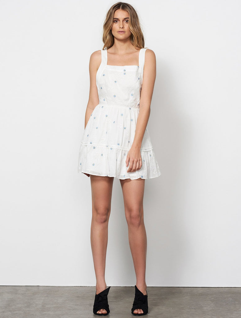 Delirium Apron Mini Dress // Off White & Stone Blue