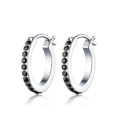 The Angie Onyx Sleeper Earring // Solid Sterling Silver + Black Onyx