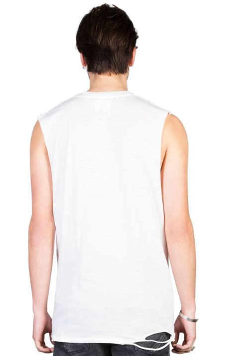Sliver Embroidered Tank // Off White & Red