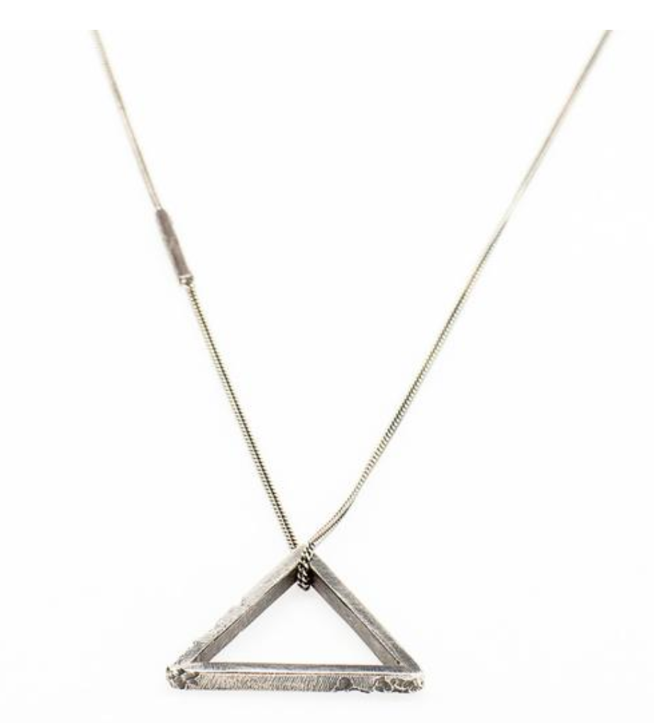 Triangle Pendant Necklace // Oxidized Sterling Silver