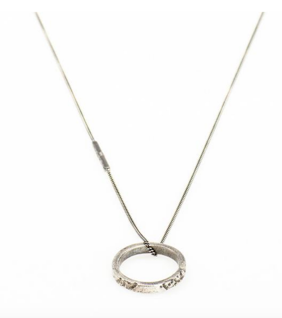 Circle Pendant Necklace // Oxidized Sterling Silver