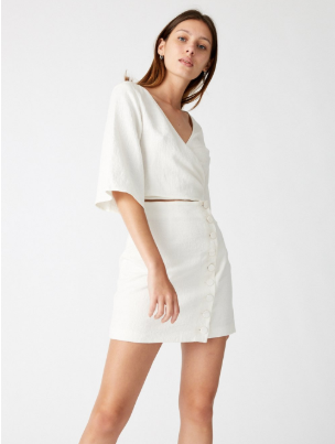 Closure Mini Wrap Dress // Natural
