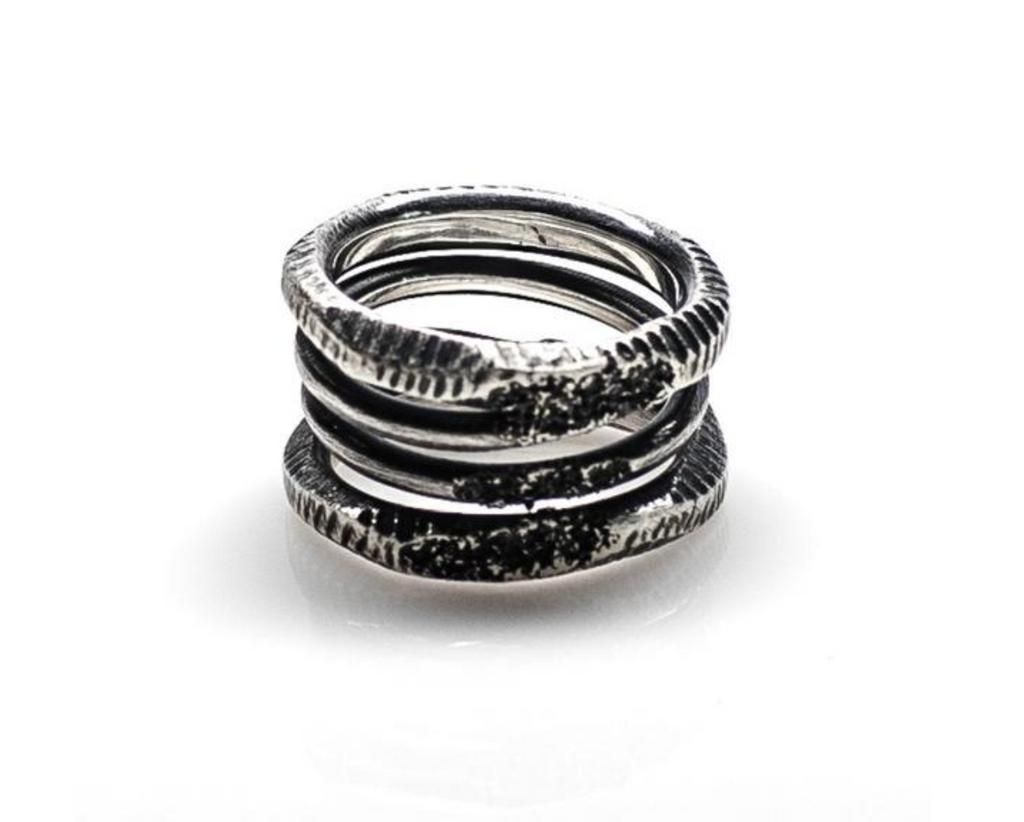 Rustic Halo Ring // Oxidized Sterling Silver