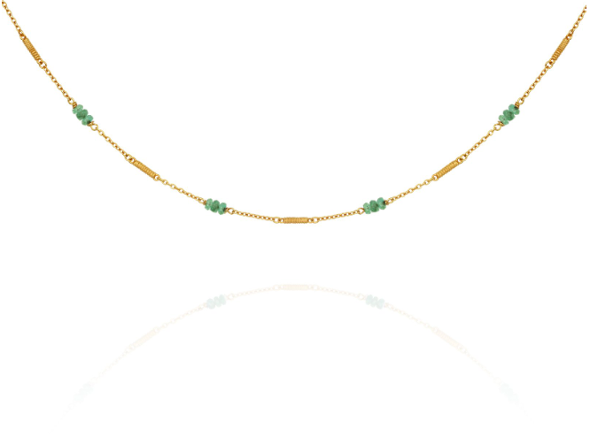 Quinn Emerald Necklace // Gold