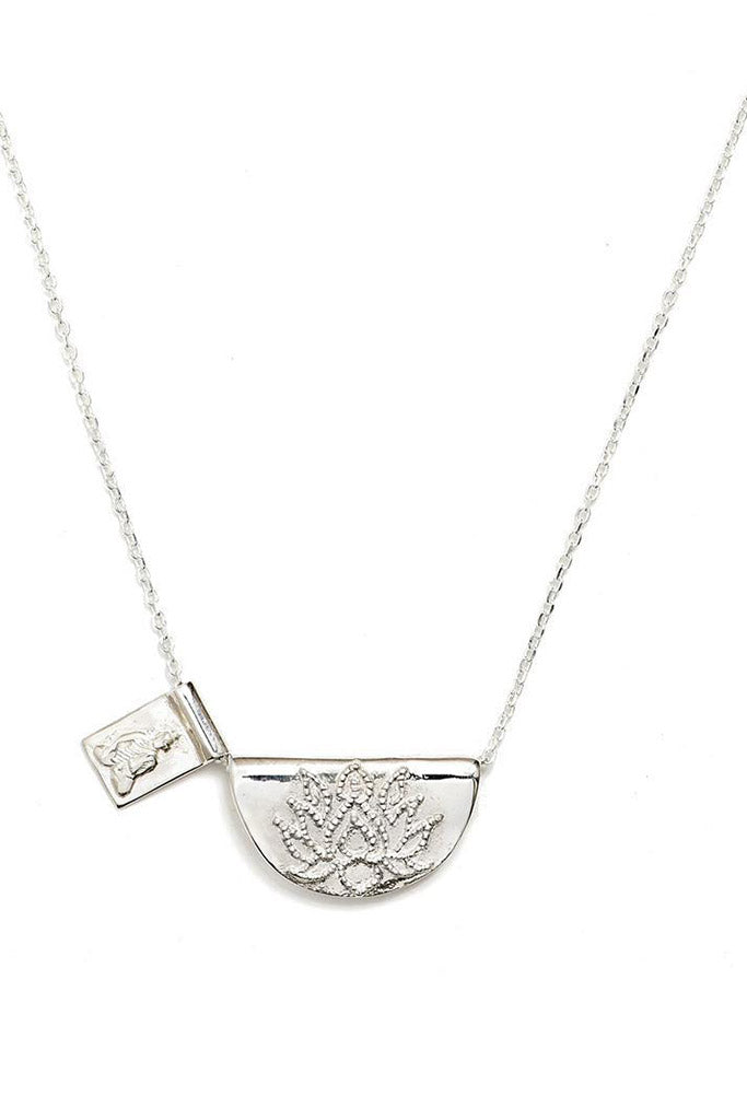Lotus and Little Buddha Necklace // Silver