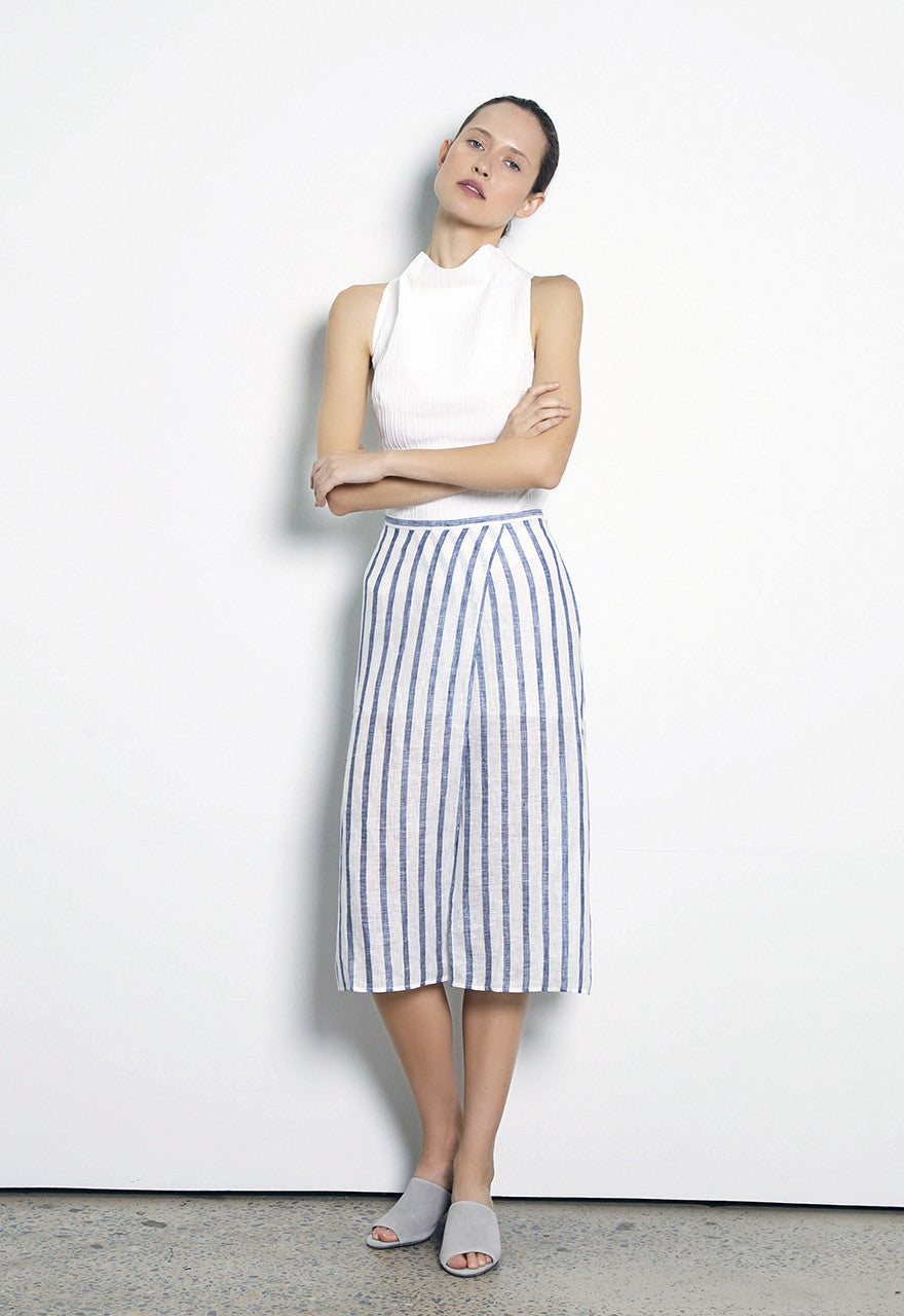 Come Around Wrap Skirt // Stripe