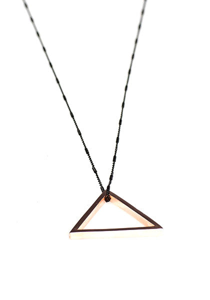 Triangle Pendant Necklace // Gold & Black Silver Chain