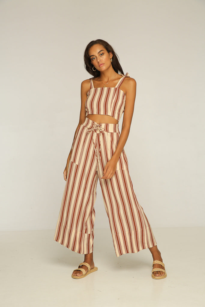 Anni Laced Pant // Brown Stripe