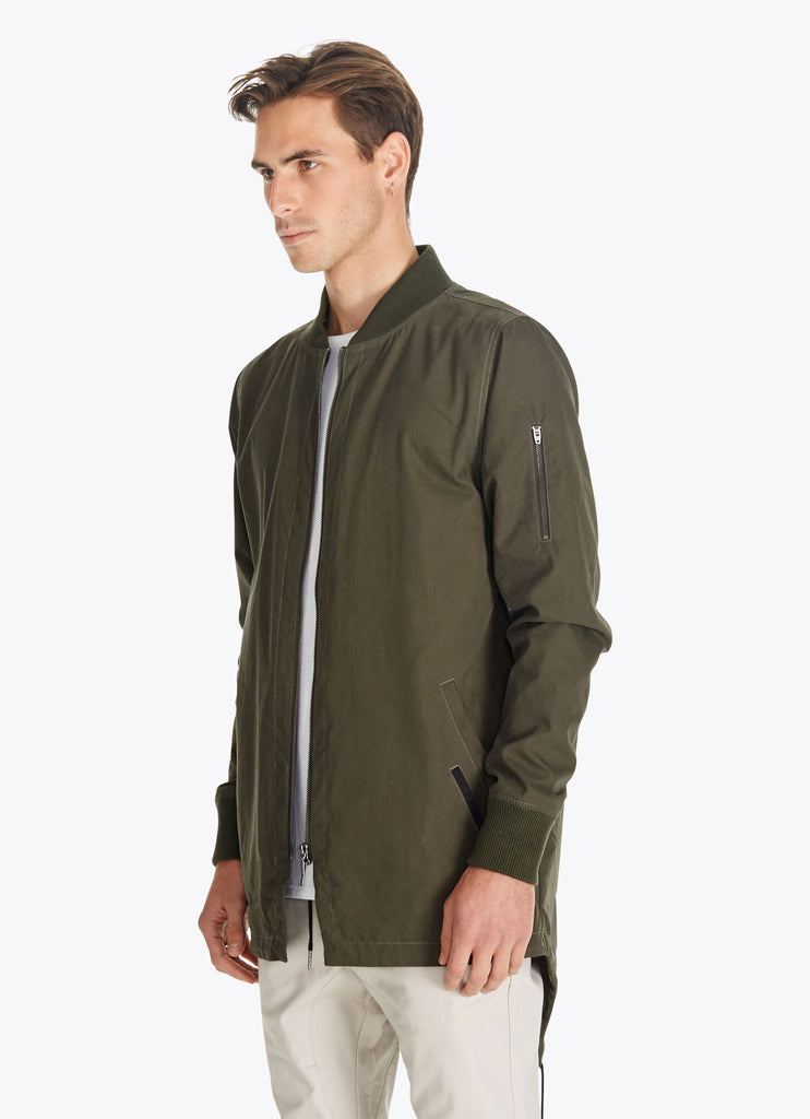 Aten Long Bomber Jacket // Olive