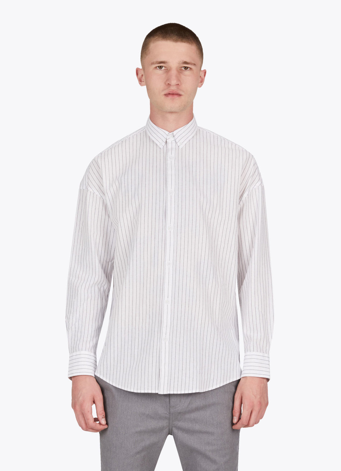 Pinstripe Rugger LS Shirt // White & Black