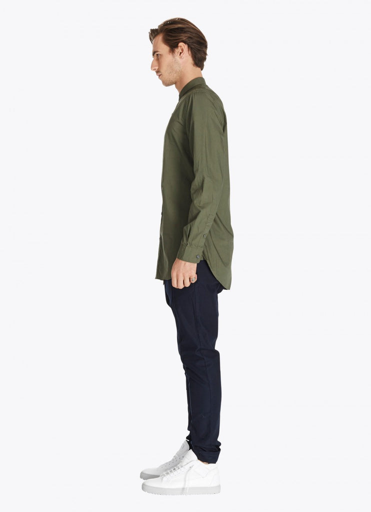 Tuck Collar L/S Shirt // Khaki