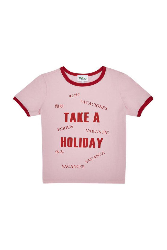 Take A Holiday Ringer Tee // Pink