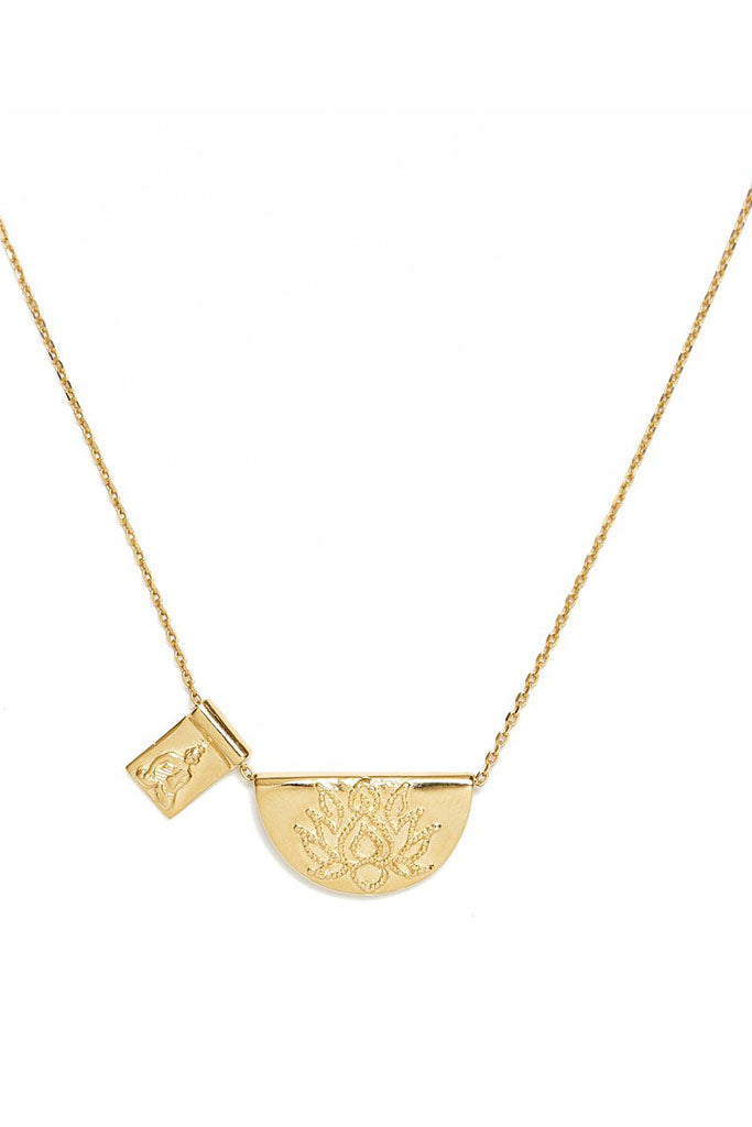 Lotus & Little Buddha Necklace // Gold