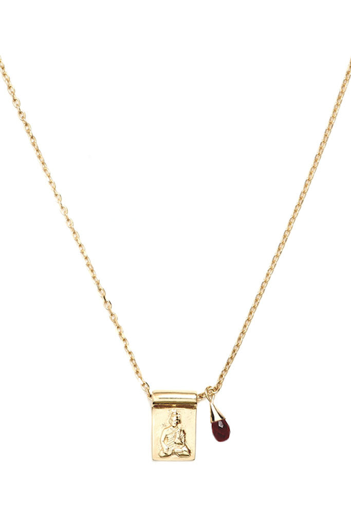 Little Buddha Ruby Necklace // Gold