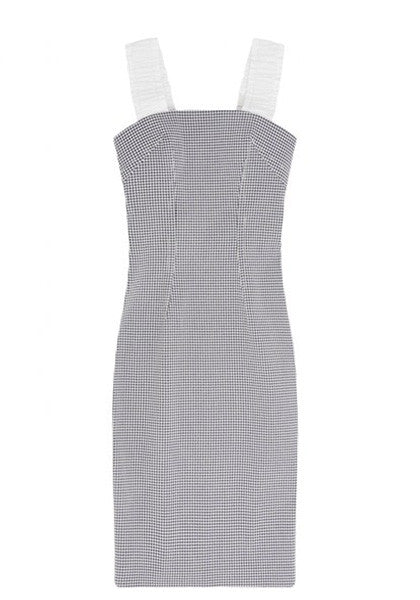 Bonded Gingham Elastic Strap Dress // Navy