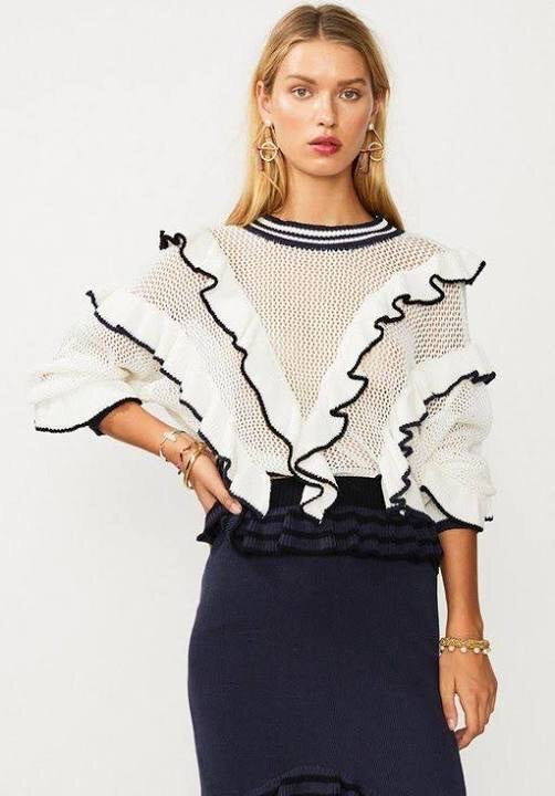 Angel Knit Sweater // White & Navy