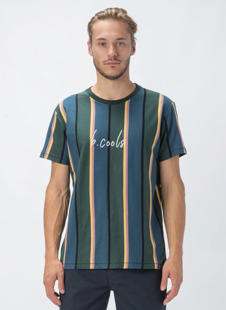B. Cools Script Tee // Forest Stripe