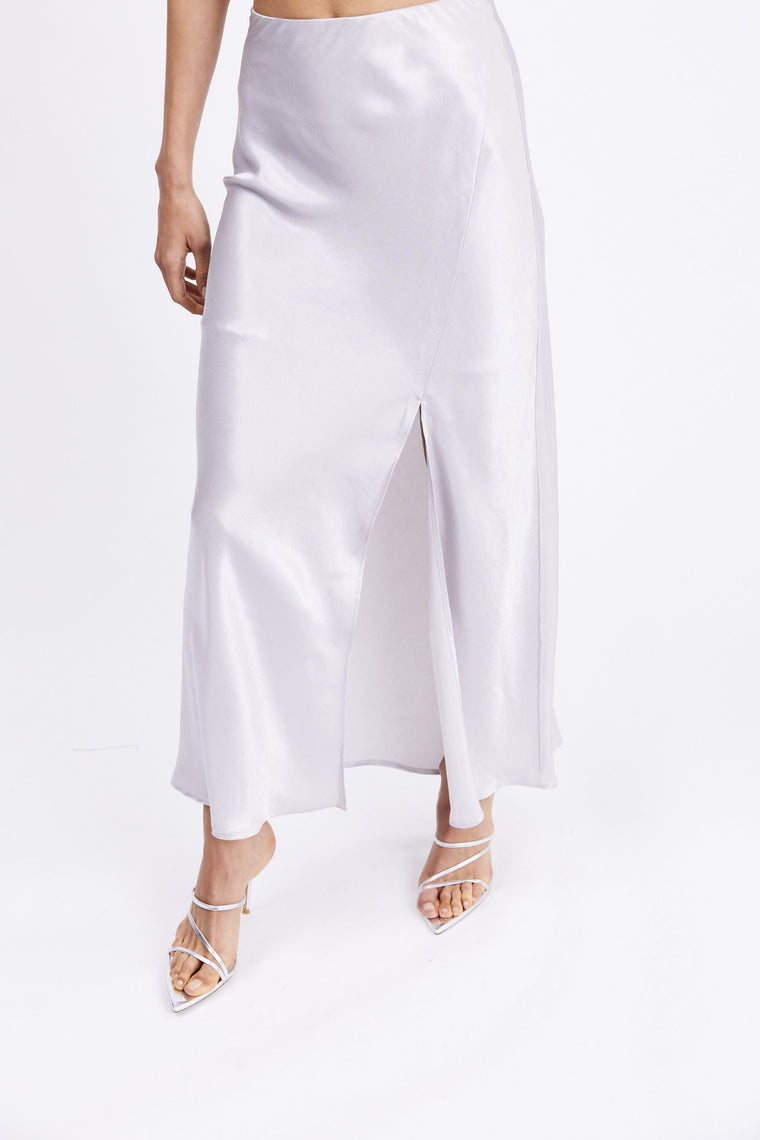 Orbit Bias Split Skirt // Silver