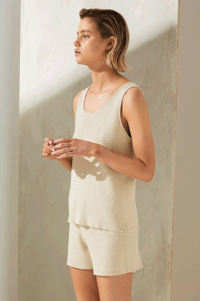 Exposure Knit Tank // Gold Lurex