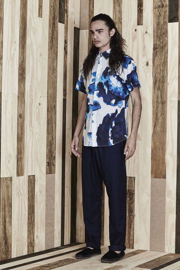 Pettibon Blue S/S Shirt //  Off White