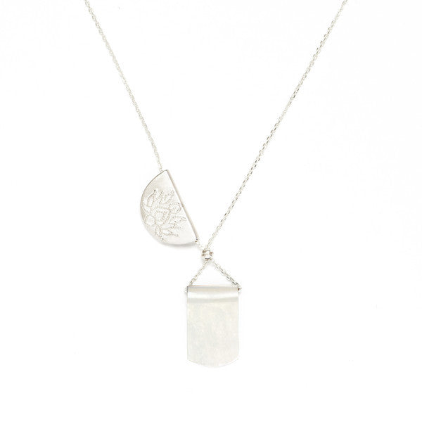 Lotus Moonlight Long Necklace // Silver
