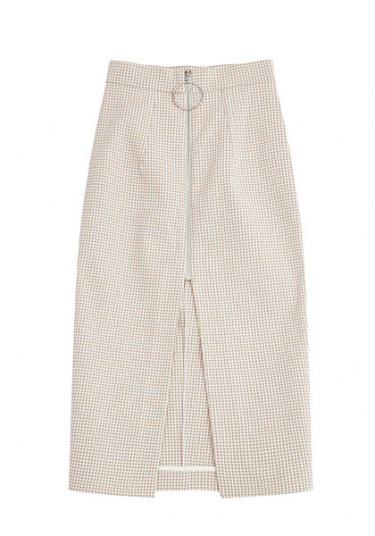 Bonded Gingham Zip Front Skirt // Oat White