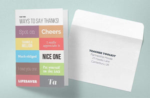 Top 10 Ways to Say Thanks - Thank You Card x 10 - Teacher-Toolkit.co.uk
