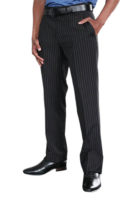 Birdi Trousers in Black Pinstripe