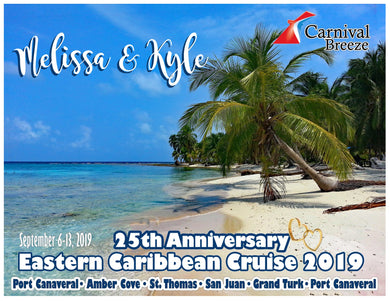 caribbean beach with palm tree cruise magnet honeymoon anniversary