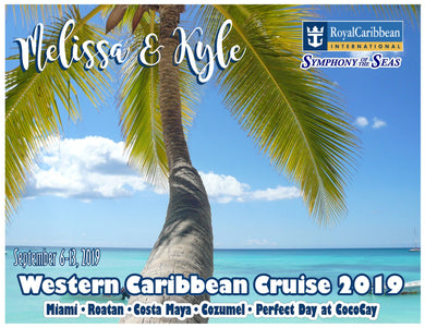 caribbean beach with palm tree cruise magnet