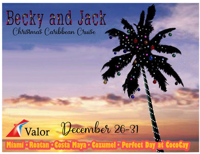 Palm Tree with ornaments and lights Christmas Cruise Magnet with sunset