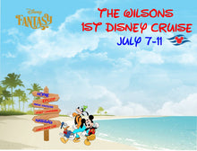 Load image into Gallery viewer, Mickey Donald Goofy on caribbean beach magnet with directional sign