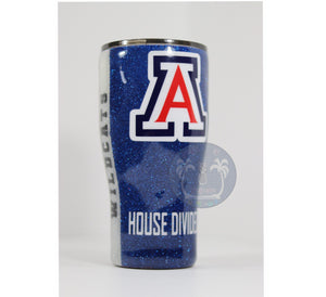 glitter college color tumbler house divided
