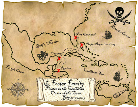 pirate map magnet personalized skull and cross sword cruise magnet