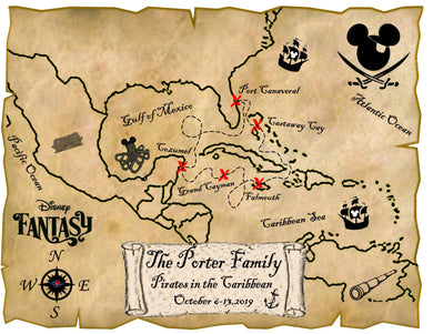 DISNEY PIRATE Map for Caribbean Cruise