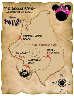 castaway cay with mickey head pirate map