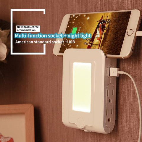 2 port usb phone charger with night light