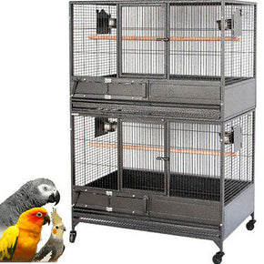 "54"" LARGE Double Stacker Breeding Multiple Bird Parrot Flight Wrought Iron Cage"