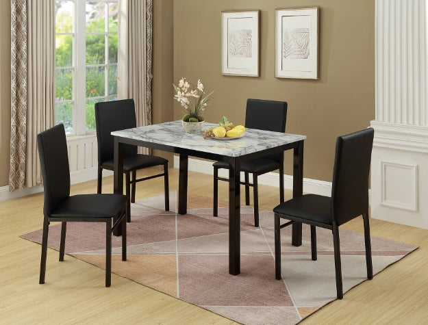 Aiden Black/White 5-Piece Dining Set