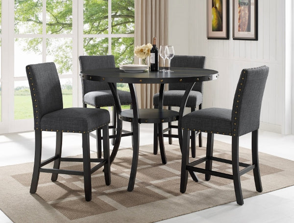 Wallace Gray/Black Round Counter Height Set - Homebien