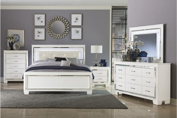 Allura White LED Panel Bedroom Set - Best Discount