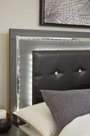 Lodanna Gray Queen LED Panel Bed - Best Discount