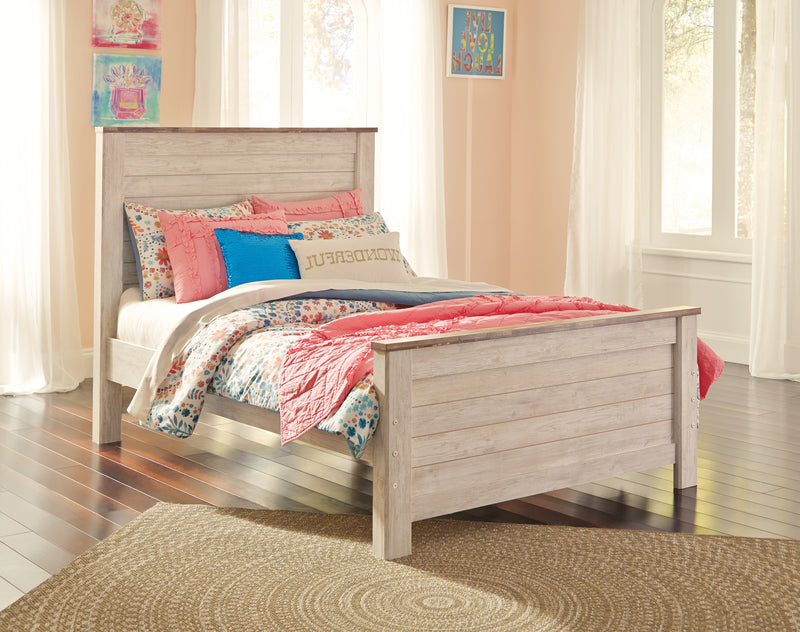Willowton Whitewash Full Panel Bed