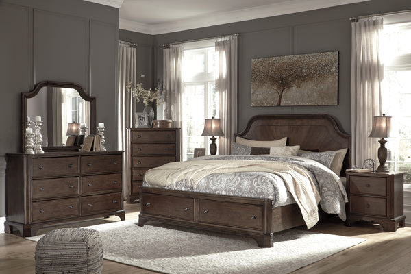 Adinton Brown Footboard Storage Platform Bedroom Set - Best Discount