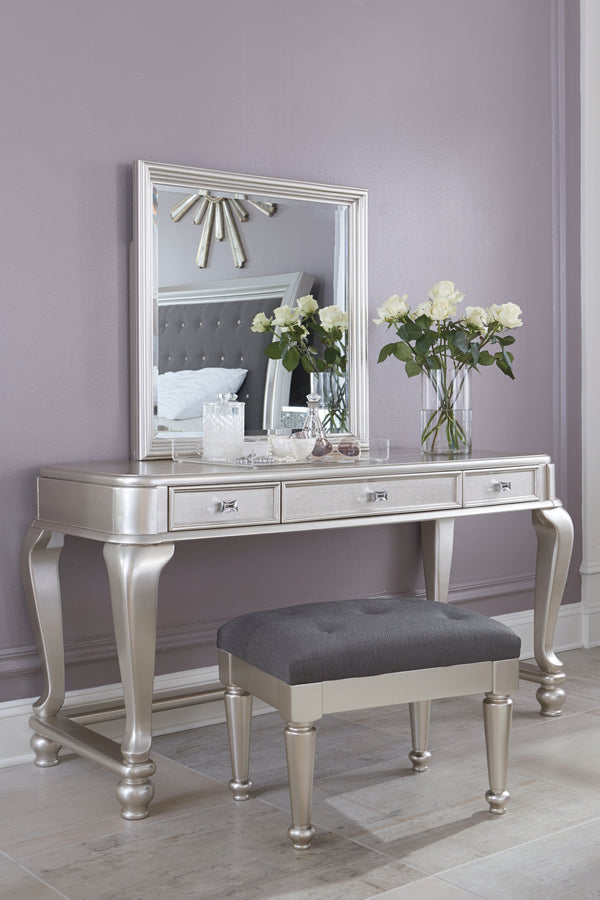 Coralayne Silver Vanity Set with Stool - Best Discount