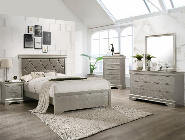 Amalia Gold King Panel Bed - Best Discount