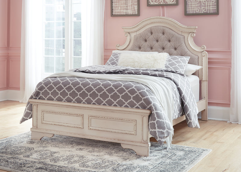 Realyn Chipped White Full Upholstered Bed - Best Discount